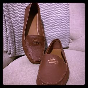 Brown Coach Pebbled Leather Loafers